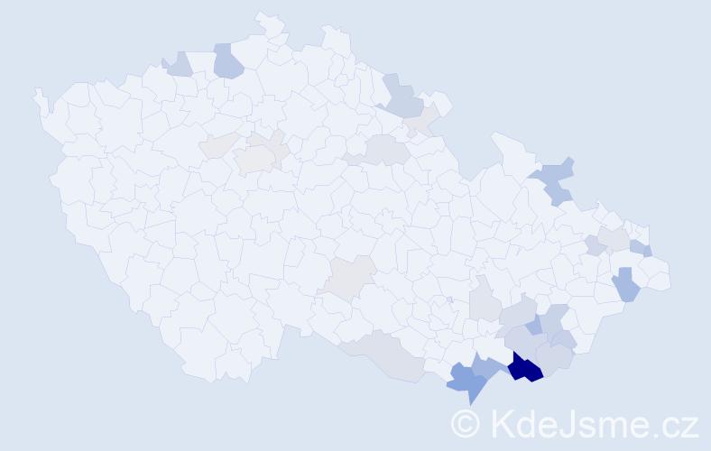 Příjmení: 'Kománková', počet výskytů 93 v celé ČR