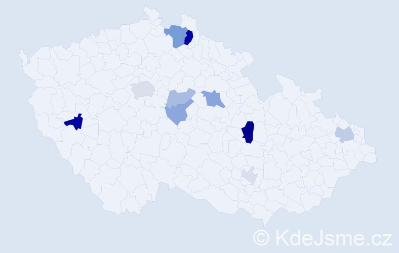 Příjmení: 'Kreiner', počet výskytů 23 v celé ČR