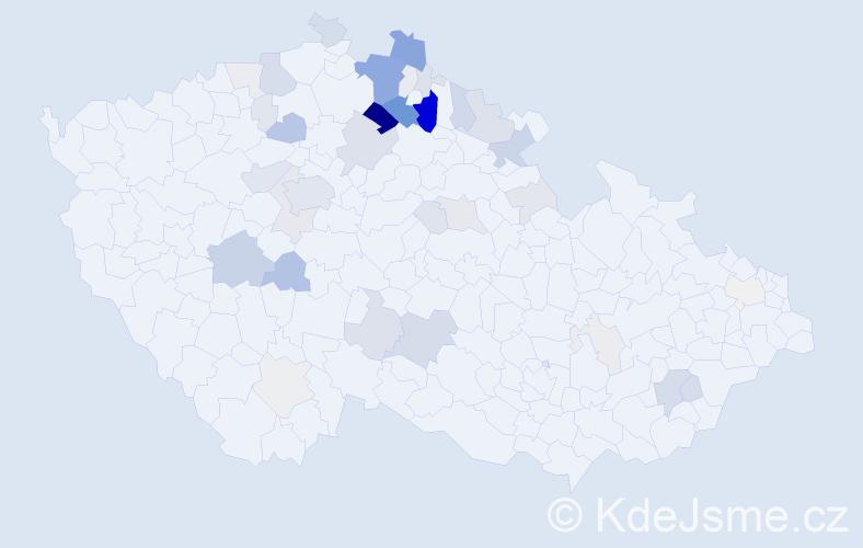 Příjmení: 'Housa', počet výskytů 168 v celé ČR