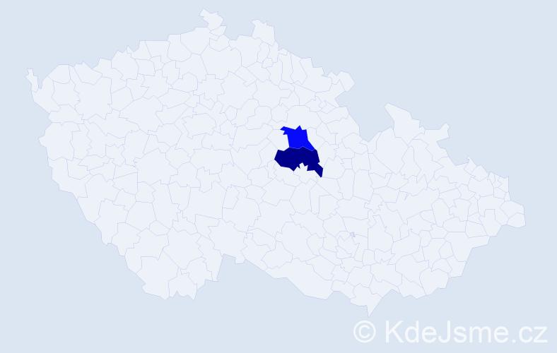 Příjmení: 'Bořetický', počet výskytů 10 v celé ČR