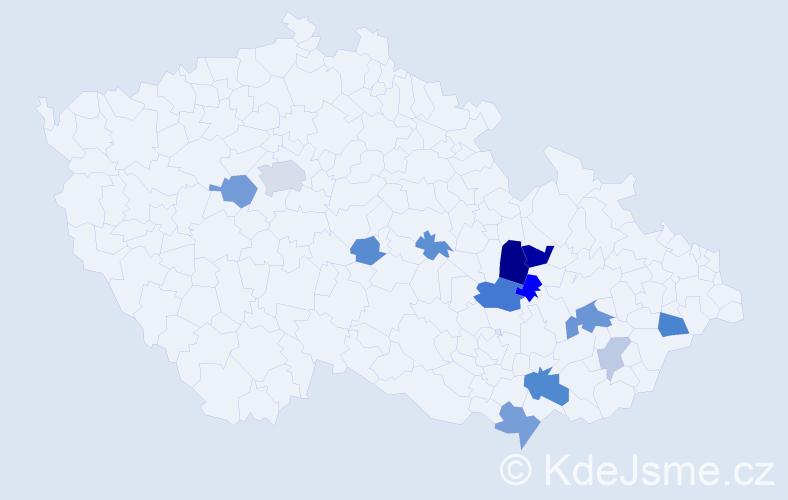 Příjmení: 'Čujan', počet výskytů 28 v celé ČR