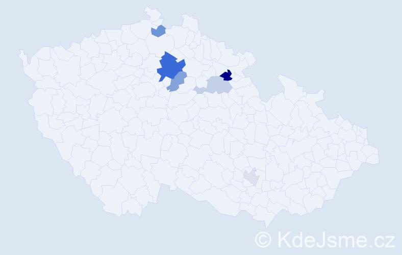 Příjmení: 'Kudyvejsová', počet výskytů 11 v celé ČR