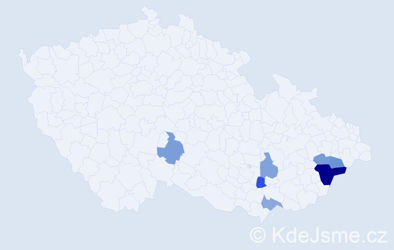 Příjmení: 'Kalvosterová', počet výskytů 11 v celé ČR