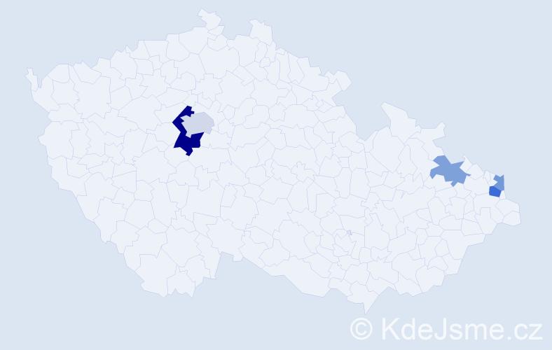 Příjmení: 'Ďaďo', počet výskytů 10 v celé ČR
