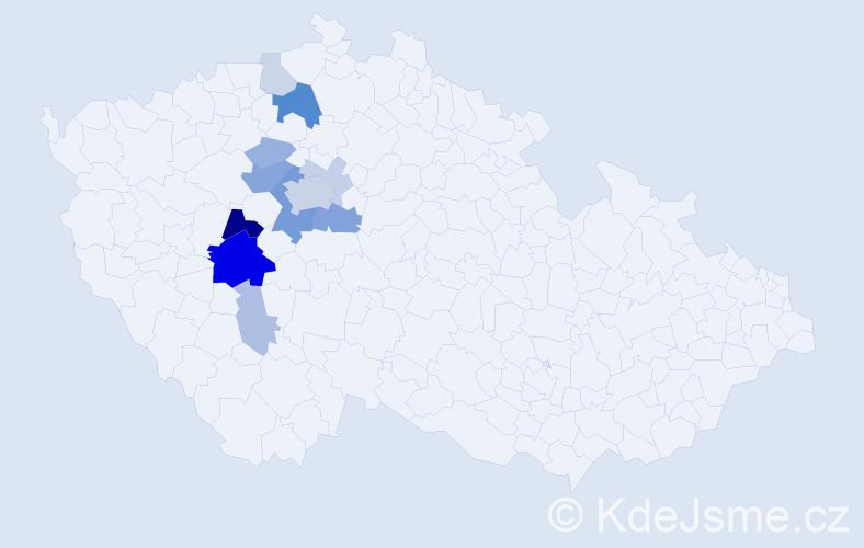 Příjmení: 'Cízová', počet výskytů 37 v celé ČR