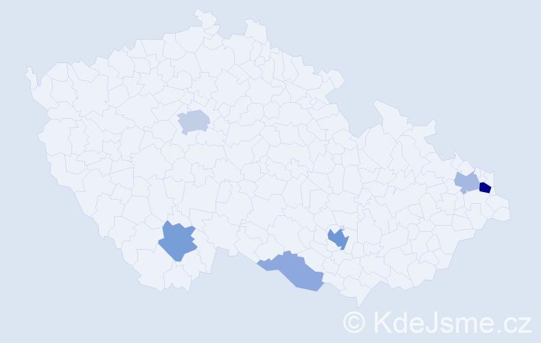 Příjmení: 'Gögh', počet výskytů 19 v celé ČR