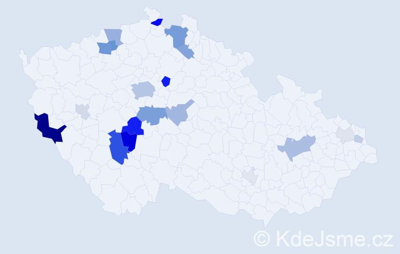 Příjmení: 'Kuranda', počet výskytů 47 v celé ČR