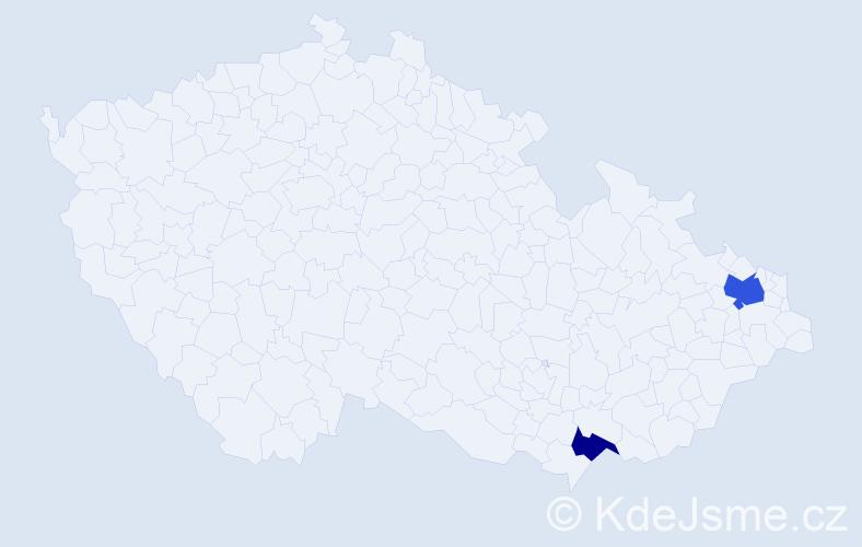 Příjmení: 'Adámyová', počet výskytů 6 v celé ČR