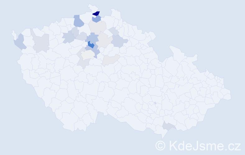Příjmení: 'Hanykýřová', počet výskytů 61 v celé ČR