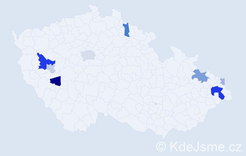 Příjmení: 'Elek', počet výskytů 17 v celé ČR