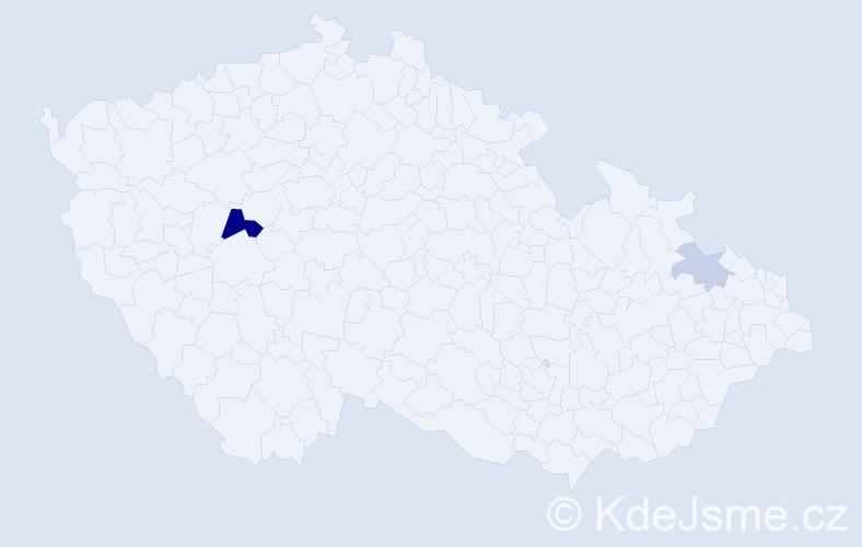 Příjmení: 'Bale', počet výskytů 5 v celé ČR