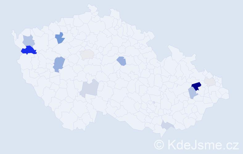 Příjmení: 'Ertelová', počet výskytů 22 v celé ČR