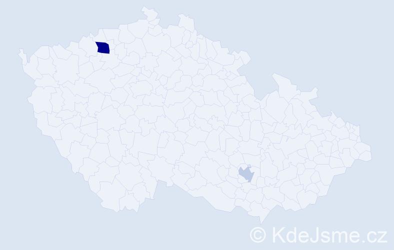 Příjmení: 'Czimprichová', počet výskytů 4 v celé ČR