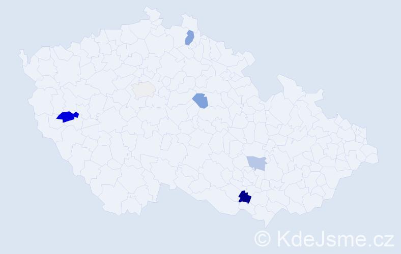 Příjmení: 'Čaba', počet výskytů 10 v celé ČR
