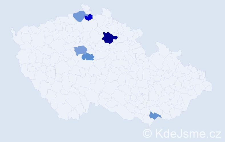 Příjmení: 'Ditterová', počet výskytů 14 v celé ČR