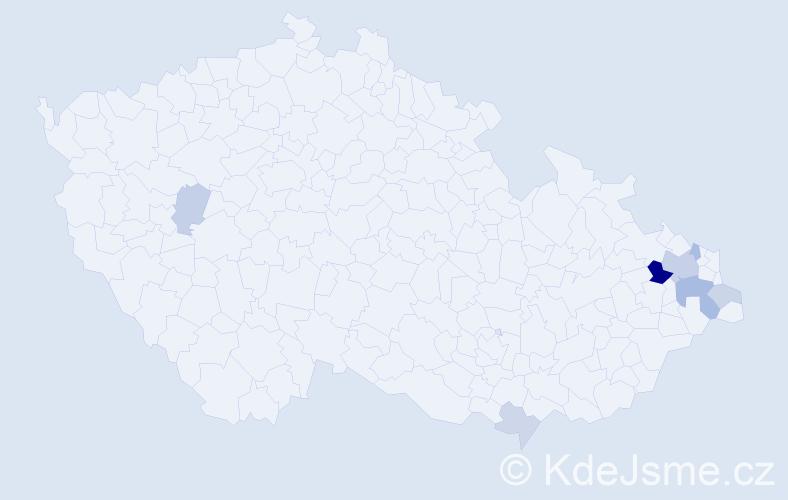 Příjmení: 'Brachňáková', počet výskytů 17 v celé ČR