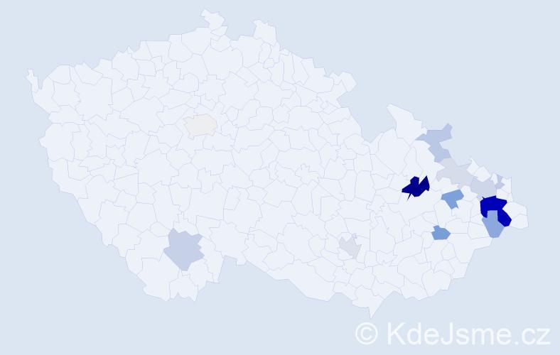 Příjmení: 'Čapčuchová', počet výskytů 37 v celé ČR