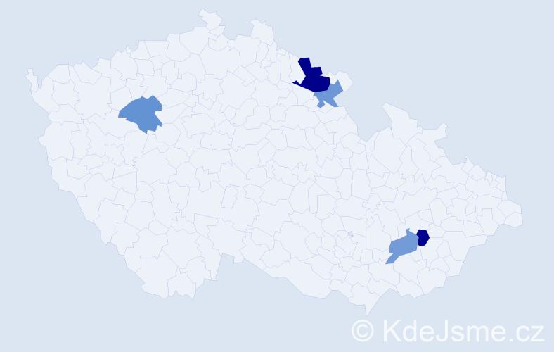 Příjmení: 'Belliová', počet výskytů 7 v celé ČR