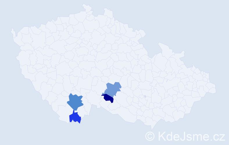 Příjmení: 'Hodiánek', počet výskytů 8 v celé ČR