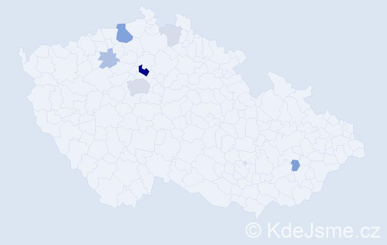 Příjmení: 'Kalabiška', počet výskytů 18 v celé ČR