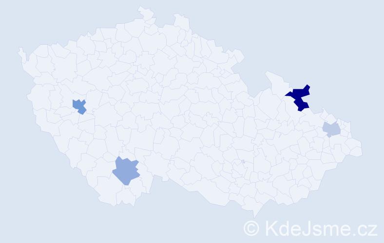 Příjmení: 'Gaššo', počet výskytů 6 v celé ČR