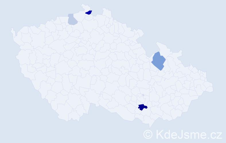 Příjmení: 'Halimi', počet výskytů 8 v celé ČR