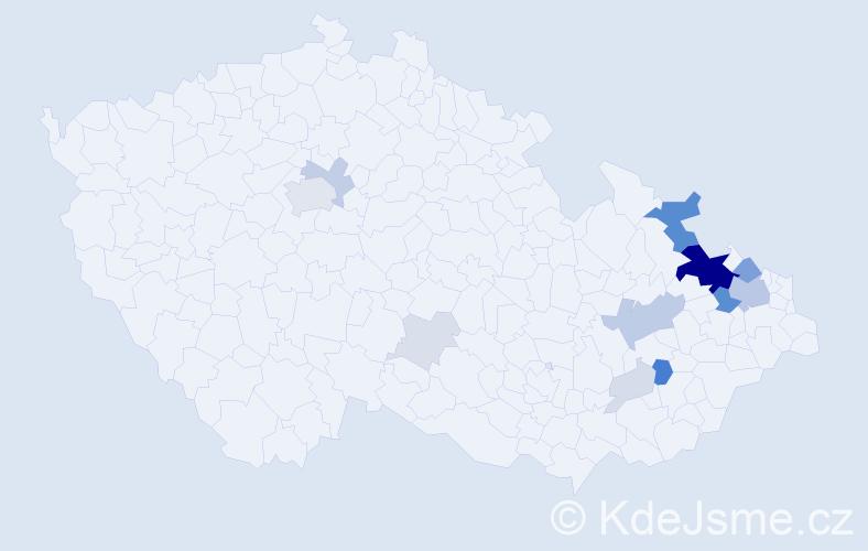 Příjmení: 'Balner', počet výskytů 55 v celé ČR