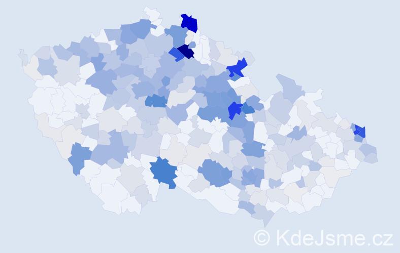 Příjmení: 'Hanzlová', počet výskytů 1111 v celé ČR