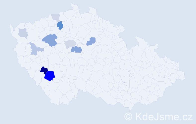 Příjmení: 'Klecan', počet výskytů 25 v celé ČR