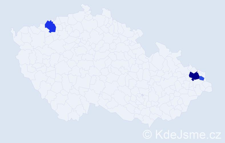 Příjmení: 'Ernes', počet výskytů 6 v celé ČR