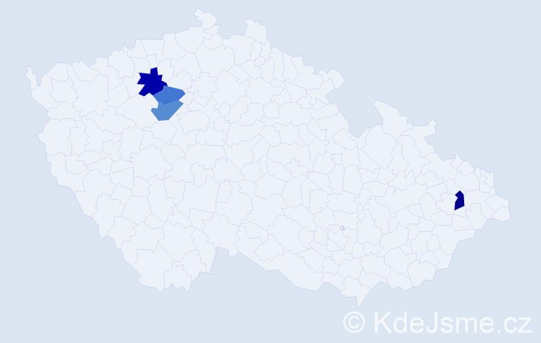 Příjmení: 'Hrabovszká', počet výskytů 7 v celé ČR
