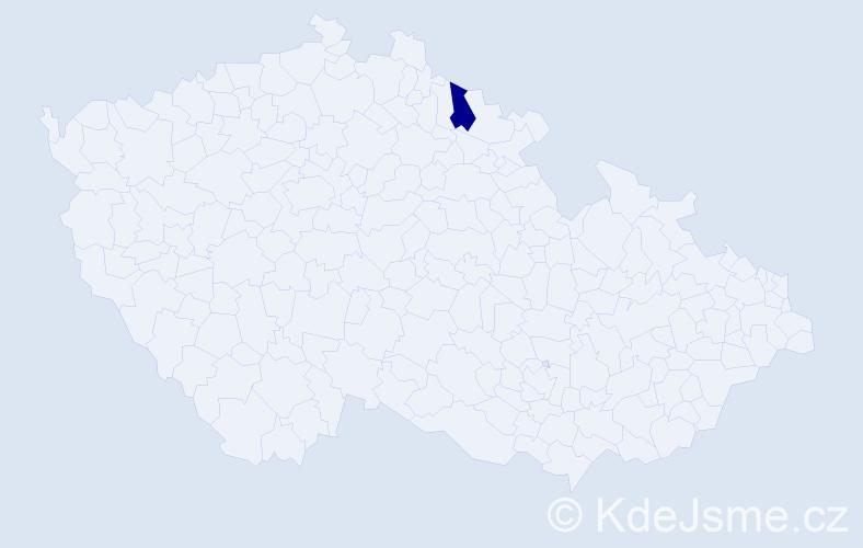 """Příjmení: '""""Hrdličková Haková""""', počet výskytů 1 v celé ČR"""