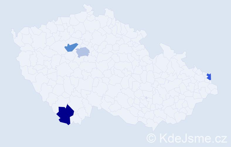 Příjmení: 'Ferneza', počet výskytů 5 v celé ČR