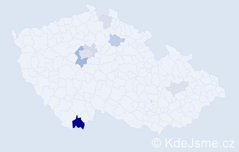 Příjmení: 'Andrštová', počet výskytů 17 v celé ČR
