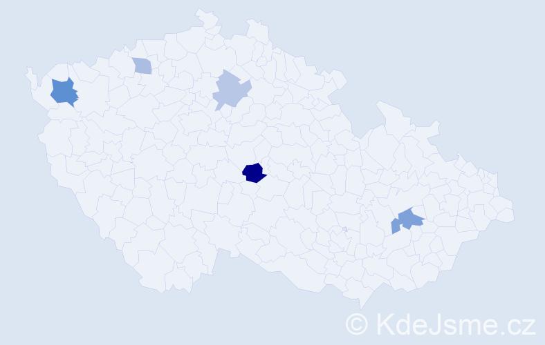 Příjmení: 'Botlóová', počet výskytů 9 v celé ČR