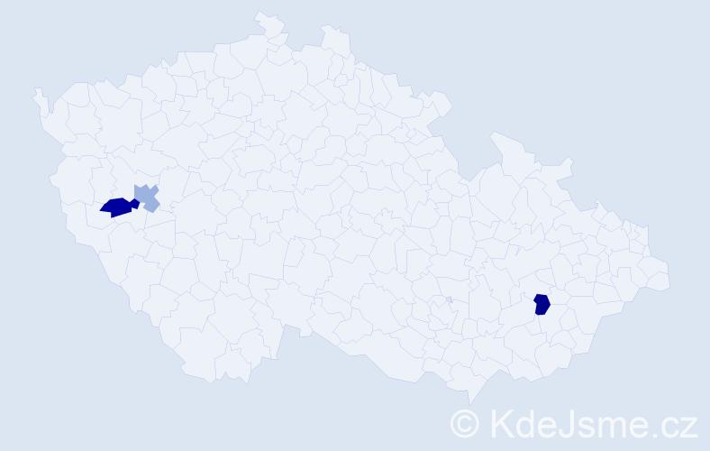 Příjmení: 'Čúliková', počet výskytů 3 v celé ČR