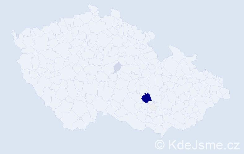Příjmení: 'Klouba', počet výskytů 19 v celé ČR