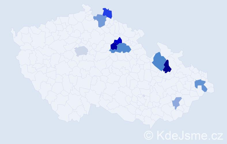 Příjmení: 'Gonšenica', počet výskytů 17 v celé ČR