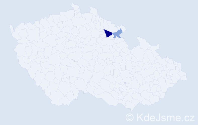 Příjmení: 'Bielica', počet výskytů 6 v celé ČR