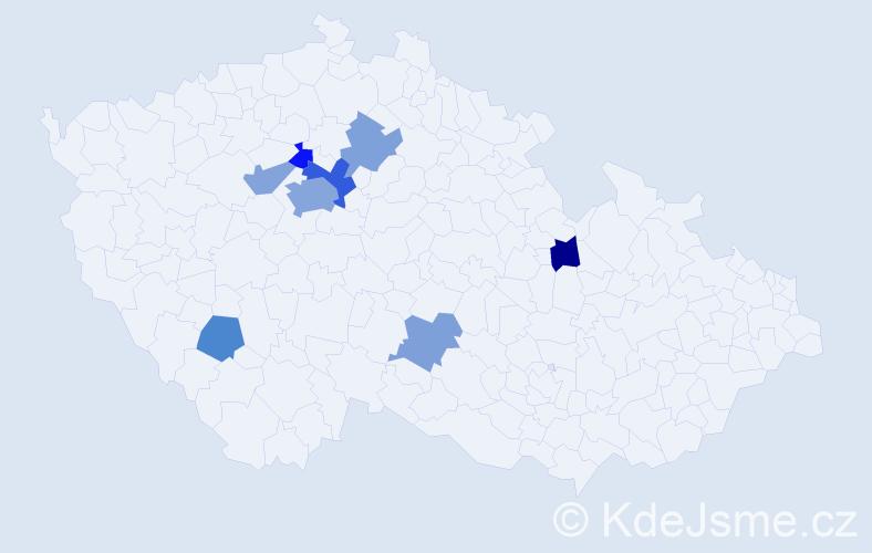 Příjmení: 'Hejnáková', počet výskytů 15 v celé ČR