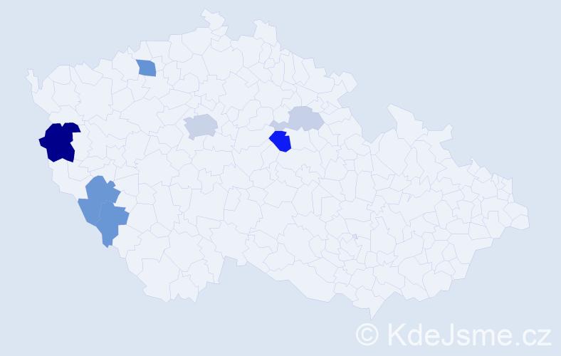 Příjmení: 'Hrečínová', počet výskytů 19 v celé ČR