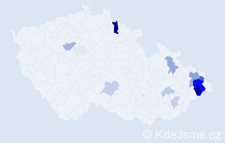 Příjmení: 'Čadan', počet výskytů 36 v celé ČR