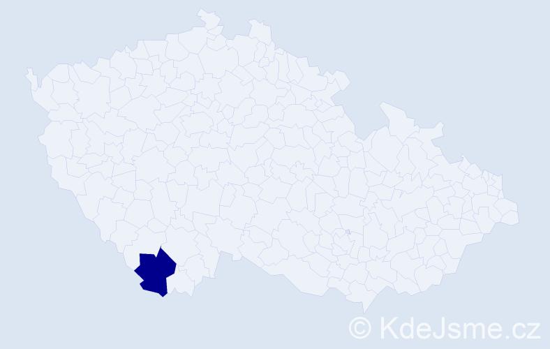 """Příjmení: '""""Lavička Vrabcová""""', počet výskytů 1 v celé ČR"""