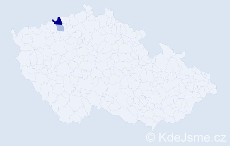 Příjmení: 'Glavica', počet výskytů 5 v celé ČR