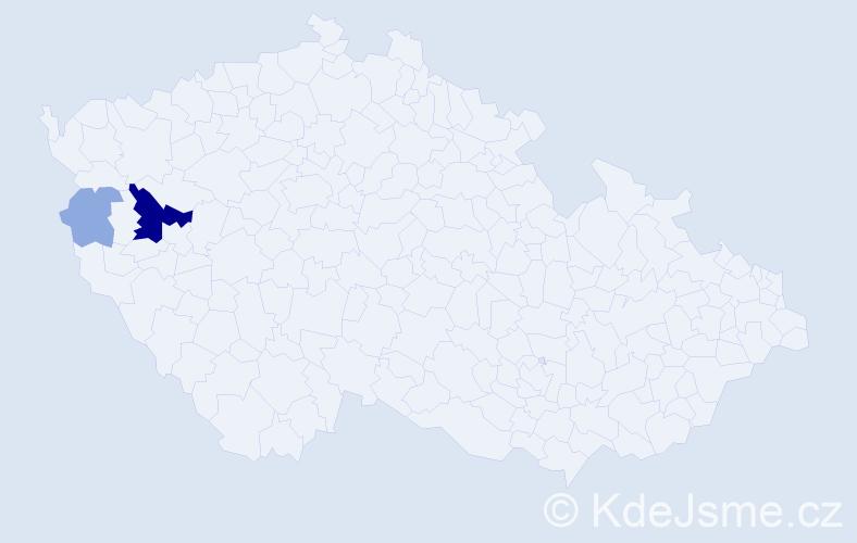 Příjmení: 'Janerlová', počet výskytů 8 v celé ČR