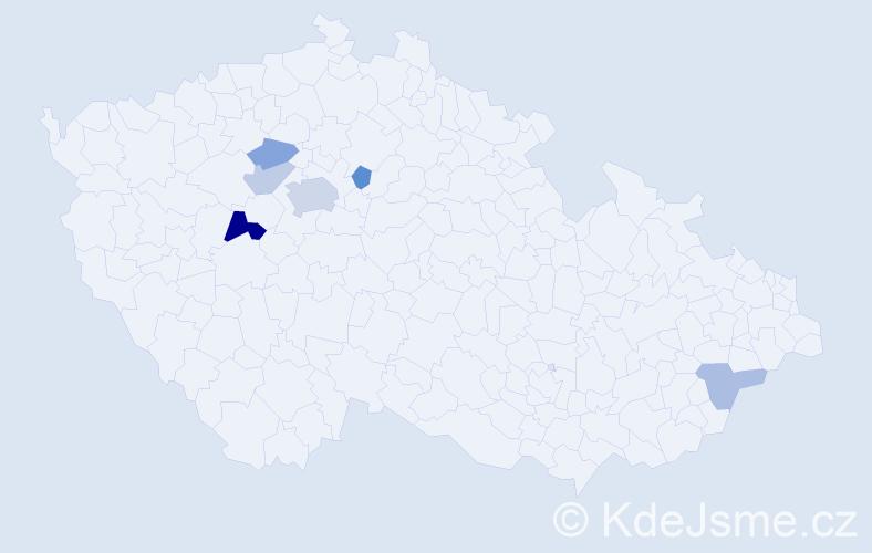 Příjmení: 'Dmitrijev', počet výskytů 12 v celé ČR