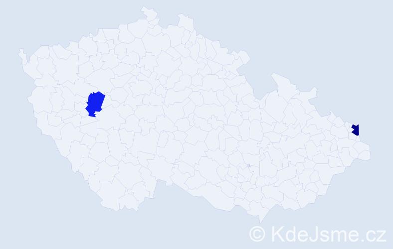 Příjmení: 'Kiráľová', počet výskytů 3 v celé ČR