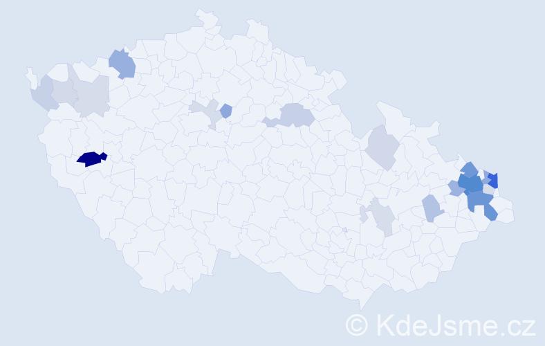 Příjmení: 'Horsinková', počet výskytů 62 v celé ČR