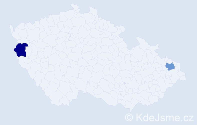 Příjmení: 'Kopciuch', počet výskytů 3 v celé ČR