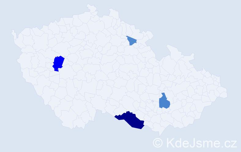 Příjmení: 'Hadenová', počet výskytů 12 v celé ČR